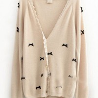 Wool Beige Long Sleeve Lace V-Neck Single-Breasted Bowknot Decoration Sweater ( color) style 819my017-Beige in  Indressme