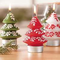 Christmas - View All - Tree Tealight Candles, Set of 3