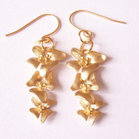 gold plated flower earrings - gold orchid flower earrings- gold dangling earrings