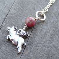 Silver Flying Pig Red Sea Sediment Jasper Handmade Pendant Necklace Crystal bead accents Animal Animals