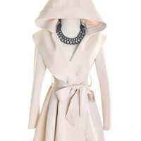 Other Non-Ironing White Long Sleeve Big Lapel Long Hooded Coat With Belt ( color) style IN02m03901-White in  Indressme