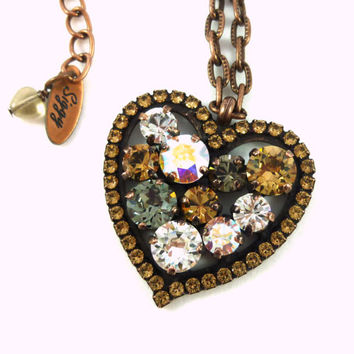 Swarovski crystal fancy heart pendant, topaz, copper plated, gorgeous combo, designer inspired