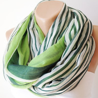 Apple green, dark green and white stripe  Cotton Scarf
