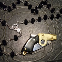 Black Rosary with Gun Knife
