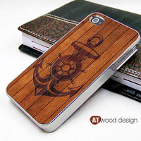 silvery iphone 4 case iphone 4s case iphone 4 cover wood and anchor unique Iphone case design image print