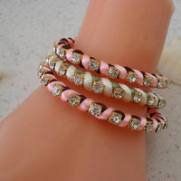 Bracelet - Brown - Light Pink and Light Green Bracelets - Summer Style - 3 pcs. - New