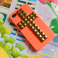 iphone 4 4s hard Case Cover with cross bronze pyramid stud For iPhone 4 Case, iPhone 4S Case, iPhone 4 GS Case ,iPhone hand case cover -045
