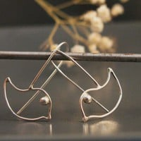 Love bird earrings, Sterling silver bird earrings, bird fashion