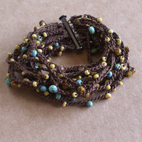 15 Strand Brown Crochet Bracelet with Czech Glass Seed Beads Yellow and Turqouise