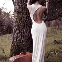 Lauren Backless Dress - White