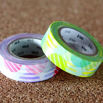 Arch Pink & Green, Japanese Washi Paper Masking Tape, 2 Rolls Set, mt Deco, Scrapbooking, Collage, Gift Wrapping, Colorful Decor Art Sticker