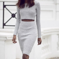 """Dream On"" Knitted Midi Pencil Skirt Cropped Top Set (3 colors available)"