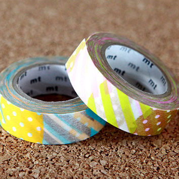Colorful Patch Design, Japanese Washi Paper Masking Tape, 2 Rolls Set, mt Deco, Scrapbooking, Cute Collage, Gift Wrapping, Decor Art Sticker