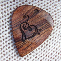 Treble and Bass Clef Heart - Handmade Laser Engraved Exotic Wood Guitar Pick - Bubinga