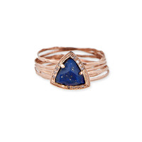 SMALL TRIANGLE MULTI WAIF RING - ASSORTED GEMSTONES - 14K