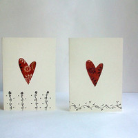 Hearts & Vines Ivory Note Cards -Set of Two-  Ivory Envelopes included