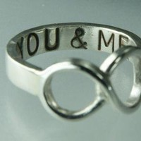 You ME LOVE Infinity Ring Sterling Silver Band Ring by ExCognito on Zibbet