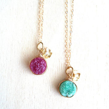 Raspberry Druzy Mint Necklace CZ Heart flower Charm Gift for her Under 50 Vitrine