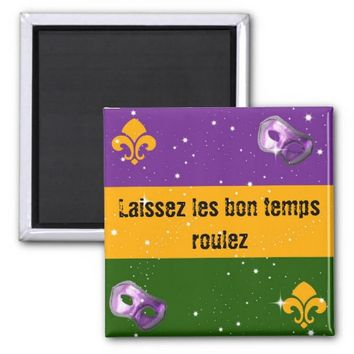 Mardi Gras magnet with mask and fleur de lis