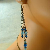Swarovski Blue Crystal Earrings by Fineartreflections on Etsy