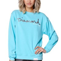 Diamond Supply Co Diamond Blue Script Crew Fleece - Womens Hoodie - Green