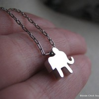 ELEPHANTTiny Silver Elephant Necklace by BlondeChick on Etsy