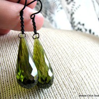 KIRAOlive Green Cubic Zirconia Teardrop Dangle by BlondeChick
