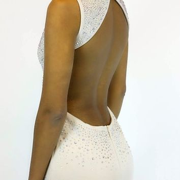 Back Up Open Back Dress in Tan | WOW Couture