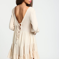Sand Lace Up Tiered Dress