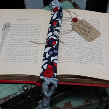 Handmade Bookmark- Whimsical Fabric- Romantic - OOAK