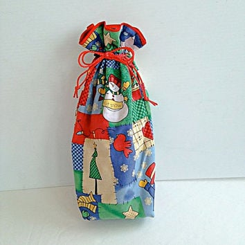 Christmas Fabric Lined Gift Bag with Drawstrings - Let It Snow - Recycle, Reuse, Eco-Friendly