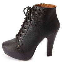 Textured High Heel Lace-Up Booties by Charlotte Russe - Black