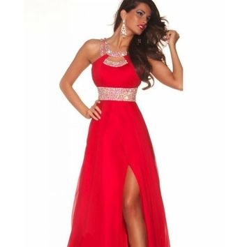 Women's Long, Red Chiffon Prom Dress