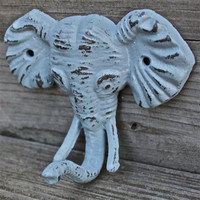 Elephant Wall Hook / Grey / Gray /Shabby Chic Decor / Jewelry Holder /Nursery /Bathroom fixture /Distressed