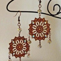 Bohemian Inspired Copper Filigree Earrings