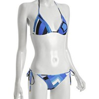 Emilio Pucci blue geometric print sliding triangle halter bikini at Bluefly