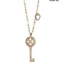 Aeropostale  Pave Key Long-Strand Necklace - Gold, One