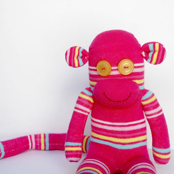 handmade pink baby shower gift pink sock monkey stuffed animal colorful stripes OOAK girl room decor pink plush birthday gift monkey decor