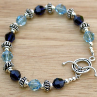 Blue Swarovski Crystal Bracelet, Crystal and Sterling Silver Bracelet, Crystal Beaded Bracelet
