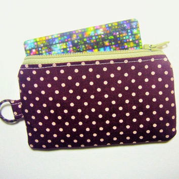 Brown Dots handmade fabric zip purse id1330853 for card, coin, thumbdrive, work lanyard tag, jogging purse