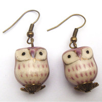 Antiqued Brass  Porcelain Owl Earrings