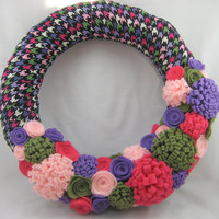 Colorful Wreath Houndstooth with Felt Flowers