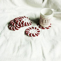 Peppermint Coasters Set of 6 Red and White Crochet