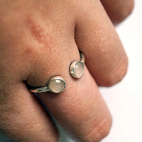 Double Gemstone Open Sterling Silver Ring ~ statement ring, stacking ring, gemstone, unique, birthstone