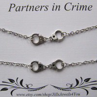 Double Partners in Crime Bracelet with handcuff charms - 2 Friendship Bracelets - Best friend bracelet - BFF gift - Best Friend gift