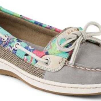 Sperry Top-Sider Angelfish Flamingo Floral Slip-On Boat Shoe Gray, Size 8M  Women's Shoes