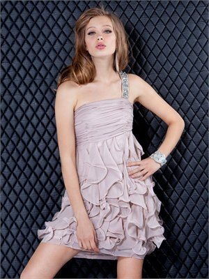 Beaded One Shoulder Pleated Bodice Ruffled Skirt Short Chiffon Prom Dress PD1972