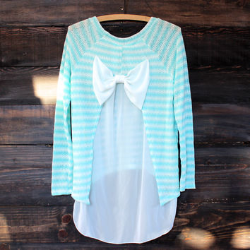 snowed in sheer bow back mint sweater tunic