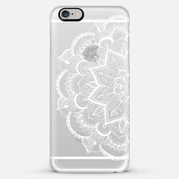 White Feather Mandala on Clear iPhone 6 Plus case by Tangerine- Tane | Casetify