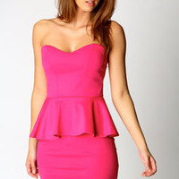 Sarah Sweetheart Bandeau Peplum Dress